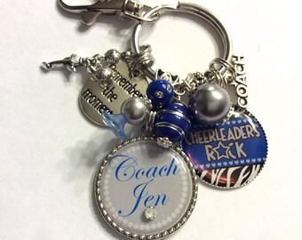 CHEER COACH GIFT Personalized Keychain Necklace, Cheerleaders Rock, Blue Silver Cheerleading Gift, Zebra Print, Senior Gift, Graduate Gift