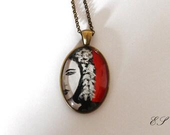 Geisha Japan Pendant Necklace Handmade Painting Japanese Vintage