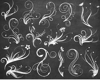 Chalkboard Swirl Clipart White Swirls Clip Art Vector Flourish Digital Scrapbooking Wedding Invitations Silhouette