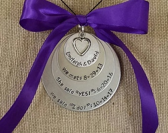 Special Date Ornament- Hand Stamped- Gifts for Couples- Wedding Gift- First Date- She Said Yes- Anniversary Gift- Tying the Knot- I Do