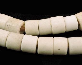 Samburu Flat Ended Venetian Trade Beads White Kenya Africa 101096