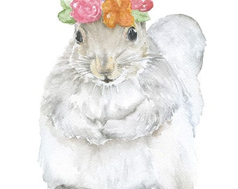 Squirrel Floral Watercolor Painting 4 x 6 - Giclee Print Reproduction - Woodland Animals - Girls Room Nursery Decor