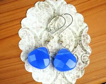 Blue Quartz Briolette Dangle Earrings, Faceted Flat Briolette, BlueBerry Quartz, Drop, Sky Blue, Quartz Earrings, Dangle Earrings