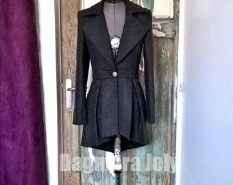 Women peplum gray jacket, pleated jacket, women grey blazer, high low jacket, womens blazer, peplum jacket, peplum blazer jacket