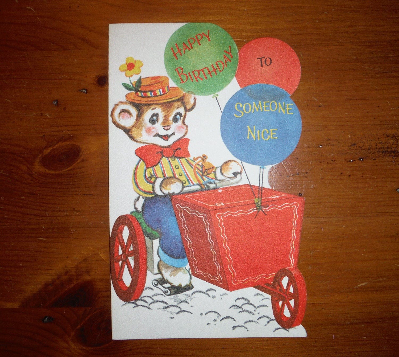 Jahrgang 1960 unbenutzt Teddybär Färbung Geburtstagskarte