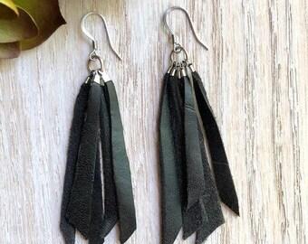 Tassel Earrings, Leather Earrings, Boho Chic, Trendy, Lightweight, Leather Tassels, Scrap Tassels