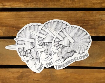 """Dinosaur Stickers - """"Triceraclops"""" - The Triceratops Cyclops - Funny Stickers - Hipster Stickers - Weird Science - Die Cut - Set of 3"""
