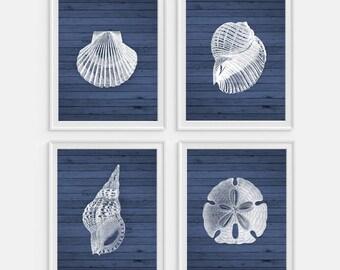 Seashell Wall Art, Seashell Decor, Beach House Decor, Blue Wall Art, Beach Decor, Beach Wall Art, Seashell Art, Set of 4, Beach Signs