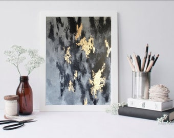 """Gray, Black and Gold Abstract Painting (16"""" x 20"""")"""