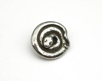 Small snake button, Green Girl Studios, round, lead free pewter, great for clasps, 16mm