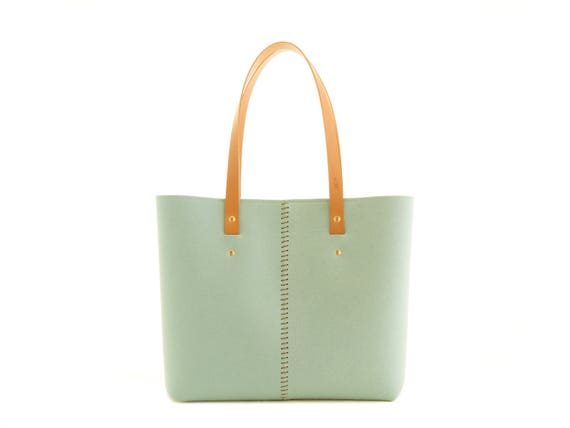 Wool Felt TOTE BAG / turquoise tote bag / womens bag / felt shoulder bag / carry all bag / made in Italy