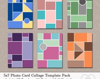 5x7 Photo Template Pack, Photo Card Collage , Photo Collage, Card Templates, Photography Templates, Holiday Cards, Promo Cards, Download