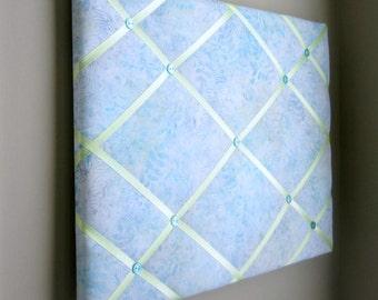"16""x20"" Memory Board Bow Holder Ribbon Board  Tropical Blue and Yellow Batik, Vision Board, Memo Board, Bow Board, Photograph Holder"