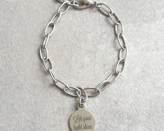 Boho Bracelet,Friendship Bracelet,Stainless Steel Bracelet,Saying Bracelet,Let your Light Shine Charm,Yoga Bracelet,Silver