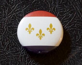 "1"" New Orleans LA flag button - Louisiana, city, pin, badge, pinback"