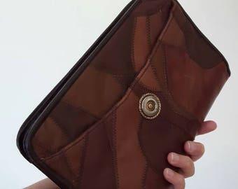 Vintage leather patchwork clutch bag