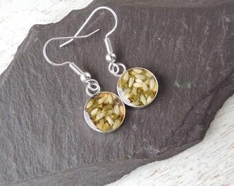 White Heather Earrings, Real Flower Resin Charm Earrings, Heather Jewellery, Resin Jewellery, Floral Flower Botanical Jewellery, UK Seller
