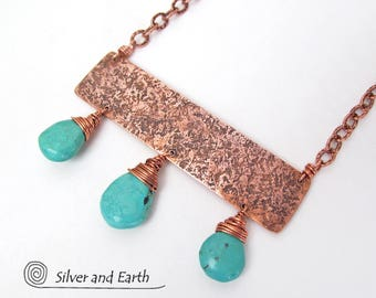 Copper Turquoise Necklace, Handmade Metalwork Jewelry, Genuine Turquoise Jewelry, Blue Turquoise, Boho Chic, Bold Exotic Statement Necklace