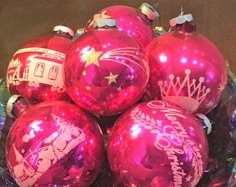 Vintage Christmas Shiny Brite Jumbo Stenciled Ornament Lot of 6 Pink Atomic Santa