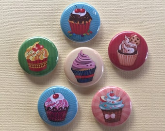 Cupcakes Pinback Buttons set of 6 assorted