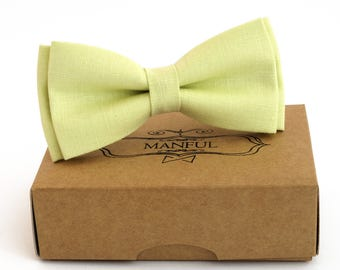 Yellow-chartreuse  linen bow tie, wedding necktie, linen necktie,  groomsmen necktie,  yellow-green necktie,yellow-green bow tie for men