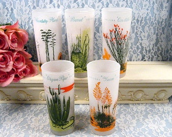 Vintage Blakely Gas Advertising Arizona Cactus Glass Tumbler, Set of Five, 1950s Anchor Hocking, Libbey Glass, Southwestern Decor Dinnerware