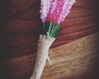 Rustic buttonhole pink heather spray