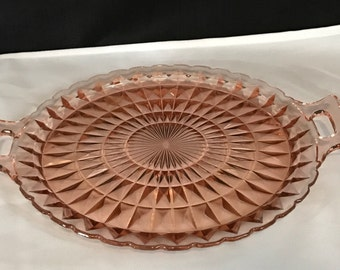 Vintage Pink Glass Platter Pink Glass Server with Handles Pink Glass Dishes