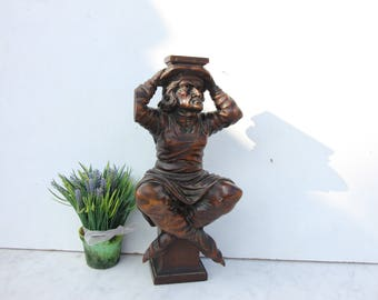Antique French wooden statue,wooden sculpture,statue,hand carved,home decor
