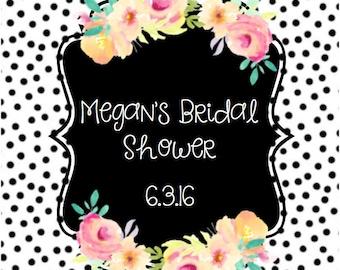 Polka Dot Bridal Shower Label (Mini or Regular Labels)