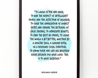 To laugh often (...), Ralph Waldo Emerson , Watercolor Poster, Wall Art quote, Painting Emesron, Motivational quote, Inspirational quote,