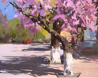 Pink Painting, Colorful Oil Painting, Landscape Art Wall Canvas Tree, Cherry Blossom Artwork, Modern Canvas Art