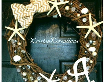 Grapevine Wreath With Letters, Starfish Wreath, Beach Wreath Decor, Beach Wreaths For Front Door, Pearl Wreath, Seashell Wreath, Nautical