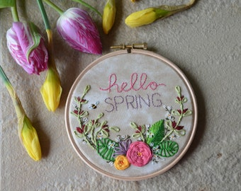 Floral Spray Embroidery Hoop Art. Hello Spring. Embroidery Wall Hanging.