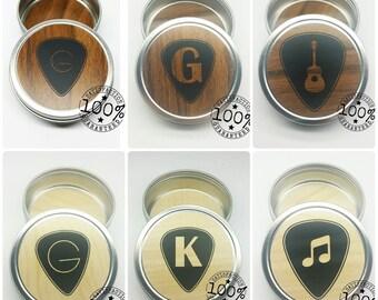 Guitar Pick Holder  / Custom Guitar Pick Tin /  Woodgrain Customized Guitar Pick Case // Musician Gift // Music Gift
