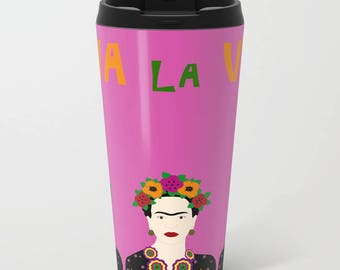 Pink metal travel mug-Fuchsia mug-Cool travel cup-Personalized-Customizable-Viva la vida-Mexican-Gift ideas-Coffee lover gift-Colourful mug
