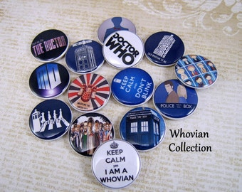 "1"" Dr. Who Inspired Pins, 12 Ct. Whovian Collection"