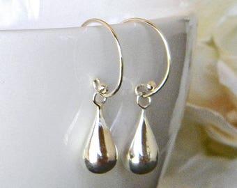 Sterling Silver Teardrop Earrings - Silver Dangle Earrings - Small Drop Earrings - Everyday Earrings - Minimalist Earrings - Silver Earrings