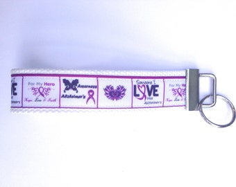 Alzheimer's Peace Love Cure Awareness   Wristlet Key Chains Ribbon Cotton Webbing 1.25 Inch