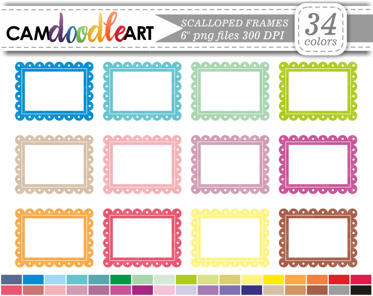 Scalloped Frame Clipart, Label Clipart, Scrapbooking Clipart ...