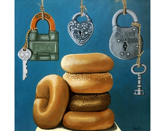 BAGELS & LOX realistic still life whimsical food original painting