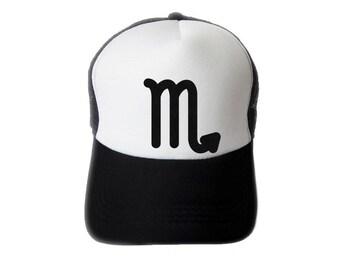 ZODIACA - Scorpio Zodiac Sign Black Flock Print Trucker Hat, Mesh Caps- H1S111