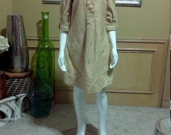 Gorgeous simple 60 Shift Dress /Garden Party/Tea Party /Raw Silk Dress/XS/S
