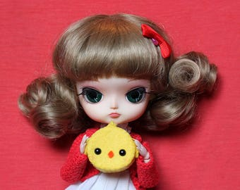 Chick  Bag 1/6, Cushion 1/6, Brooch or Keychain   for Blythe, Pullip, ...