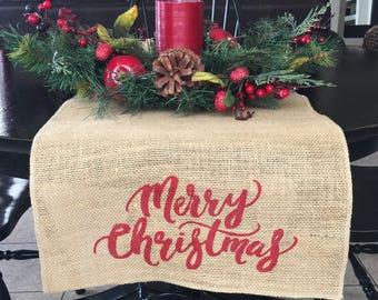Merry Christmas Table Runner, Burlap Table Runner, Table Runner,