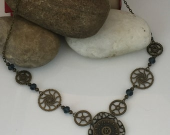 Gears and Clock Bronze Necklace with Blue Crystal Beads, Steampunk Gear Necklace