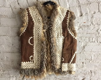 1970s brown suede embroidered Afghan shearling boho vest