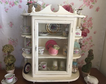 HUGE Shabby Chic Curio   Glass Front Cabinet   White Chippy Painted Cabinet    Distressed