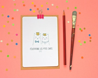 Congratulations French Cat Postcard - Free Shipping!