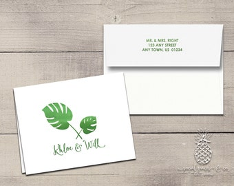 Letterpress Foil Wedding Thank You Cards & Envelopes - Tropical Palm Correspondence Cards - Custom Stationery Note Cards